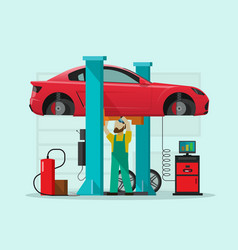 car repair station mechanic vector image vector image