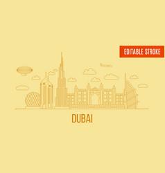 dubai city skyline linear line art style vector image