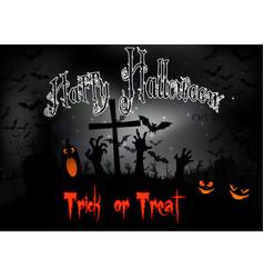 halloween night with pumpkins and bats vector image