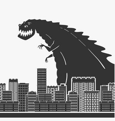 Monster in a town vector