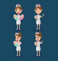 nurse cartoon character white cloth set vector image vector image