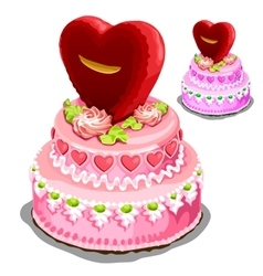 Beautiful pink cake with heart biscuits vector image vector image