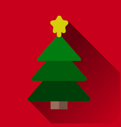 christmas tree with decorations star flat icon for vector image vector image