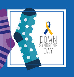 down syndrome day greeting card dotted and striped vector image