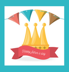 fathers day celebration with party flags and vector image