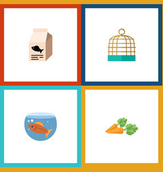 flat icon animal set of root vegetable bird vector image vector image