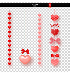 garland of red hearts and bows on transparent vector image