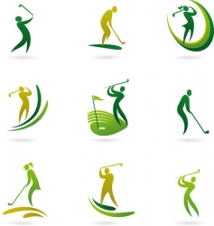 golfing icons vector image vector image