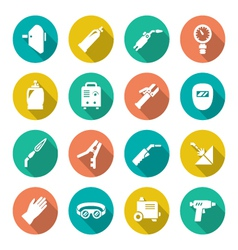 Set flat icons of welding vector image