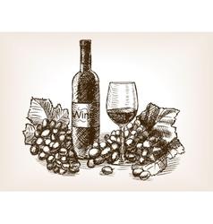 Wine still life sketch style vector image