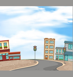 Background scene with buildings and empty road of vector