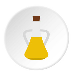 bottle with olive oil icon circle vector image