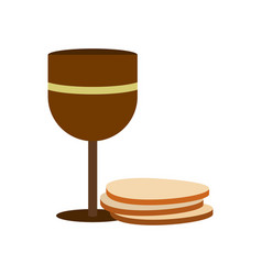 Chalice of wine and wafers icon vector image