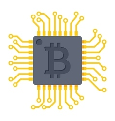 Computer chip for bitcoin mining vector image vector image