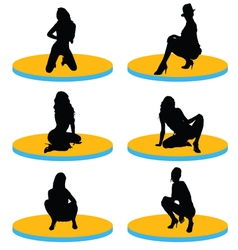 girl sexy on stage silhouette vector image