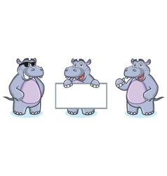 Hippo Mascot happy vector image