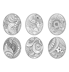 Zentangle easter eggs for coloring book for adult vector image