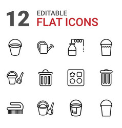 12 bucket icons vector