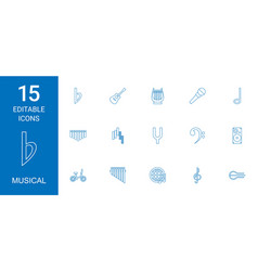 15 musical icons vector