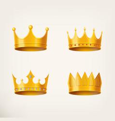 3d golden crown for queen or monarch king vector