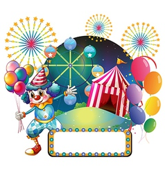 A clown with balloons near the empty signage vector image