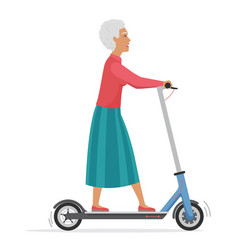 Active old woman on electric scooter flat vector