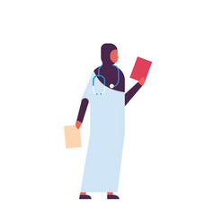 Arab woman holding clipboard medical doctor vector