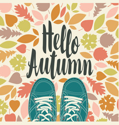autumn banner with inscription and green shoes vector image