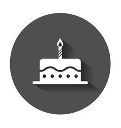 birthday cake flat icon fresh pie muffin in flat vector image