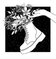 black and white shoes with flowers vector image