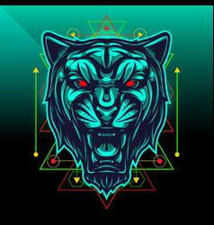 black panther sport mascot logo design vector image