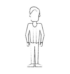 Blurred silhouette caricature faceless man with vector