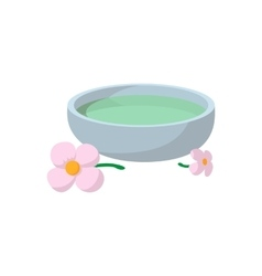 Bowl with spa liquid cartoon icon vector image