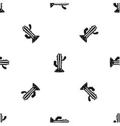 Cactus pattern seamless black vector