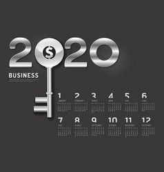 calendar 2020 concept business key to success vector image