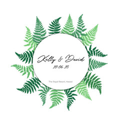 card template with fern leaf vector image