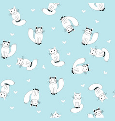 cartoon white cats seamless pattern vector image