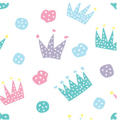 childish seamless pattern with crowns and hearts vector image