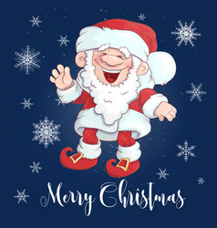 christmas card funny cartoon santa claus vector image