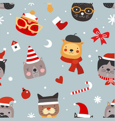 christmas cats seamless pattern cute kittens in vector image