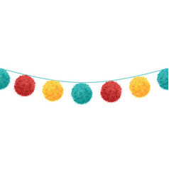 Colorful vibrant birthday party pompoms set vector