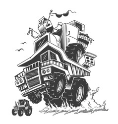 construction truck on back wheels and smoke vector image