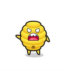 Cute bee hive cartoon in a very angry pose vector