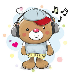 cute cartoon teddy bear with headphones vector image