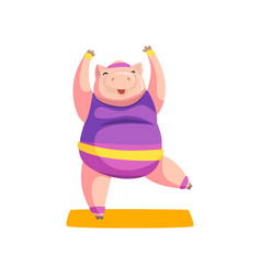 cute pig practicing yoga exercise wearing sports vector image