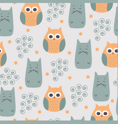 cute print with owl and cat vector image