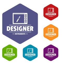 Designer shop icons hexahedron vector