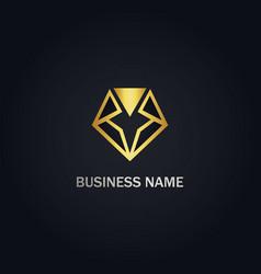 diamond triangle shape line gold logo vector image