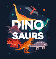 Different dinosaurs - colorful flat design style vector