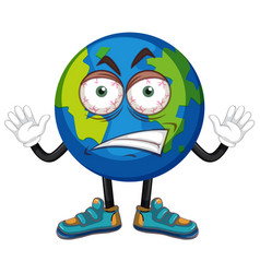 Earth with anger face vector
